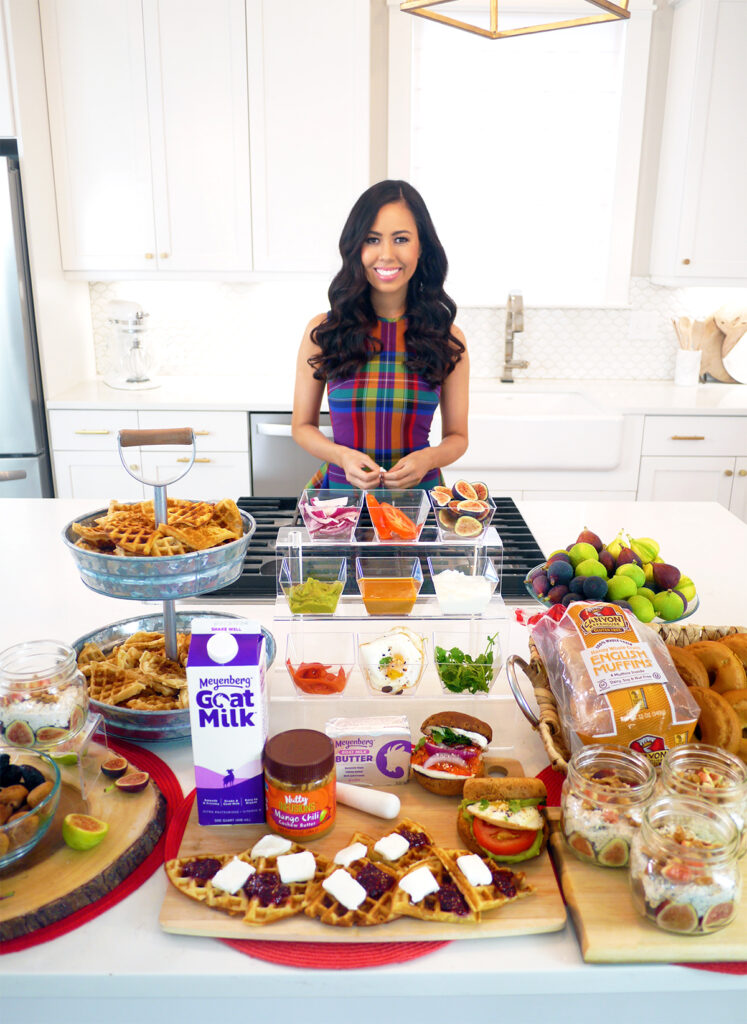 Nutty Infusions Gourmet Nut Butters Mango Chili Cashew, Meyenberg Goat Milk butter and Goat milk, California Figs, Canyon Bakehouse Gluten Free Stay Fresh English Muffins, Celebrity Leading Media TV Registered Dietitian Nutritionist Mia Syn