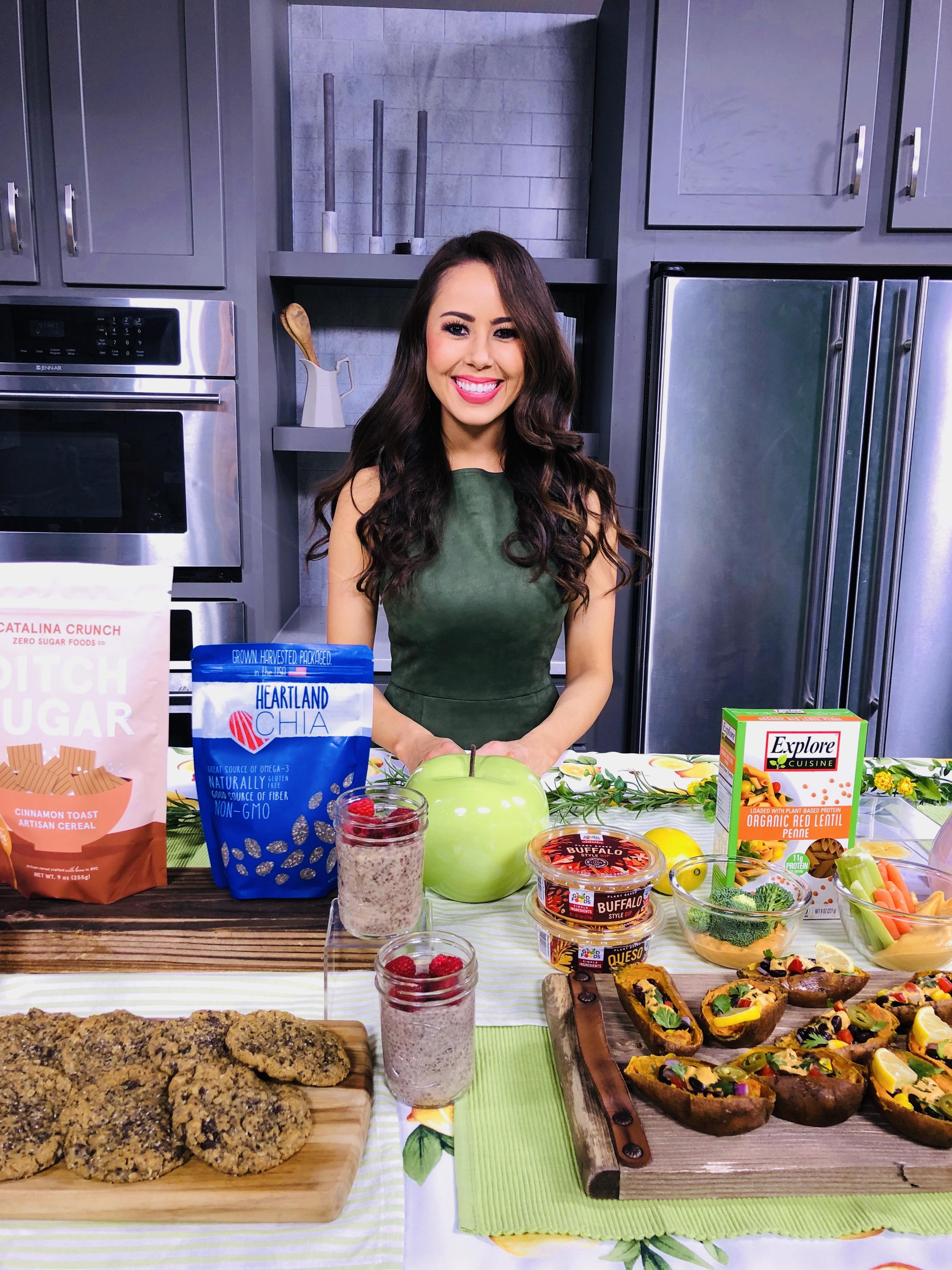 Catalina Crunch, Heartland Chia, Explore Cuisine Red lentil Pasta, Good Foods Plant Based Dips