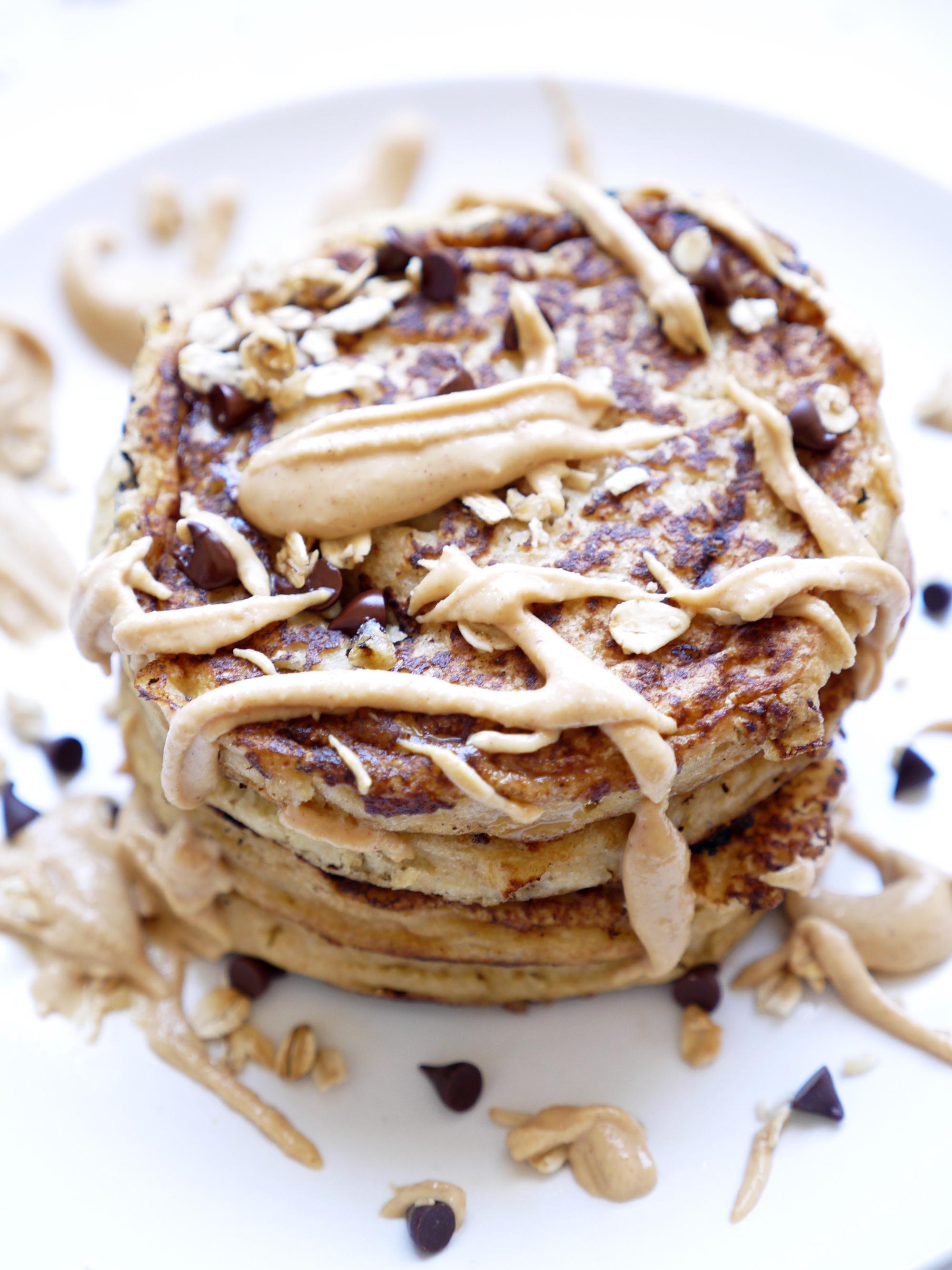 Peanut Butter Chocolate Ricotta Pancakes