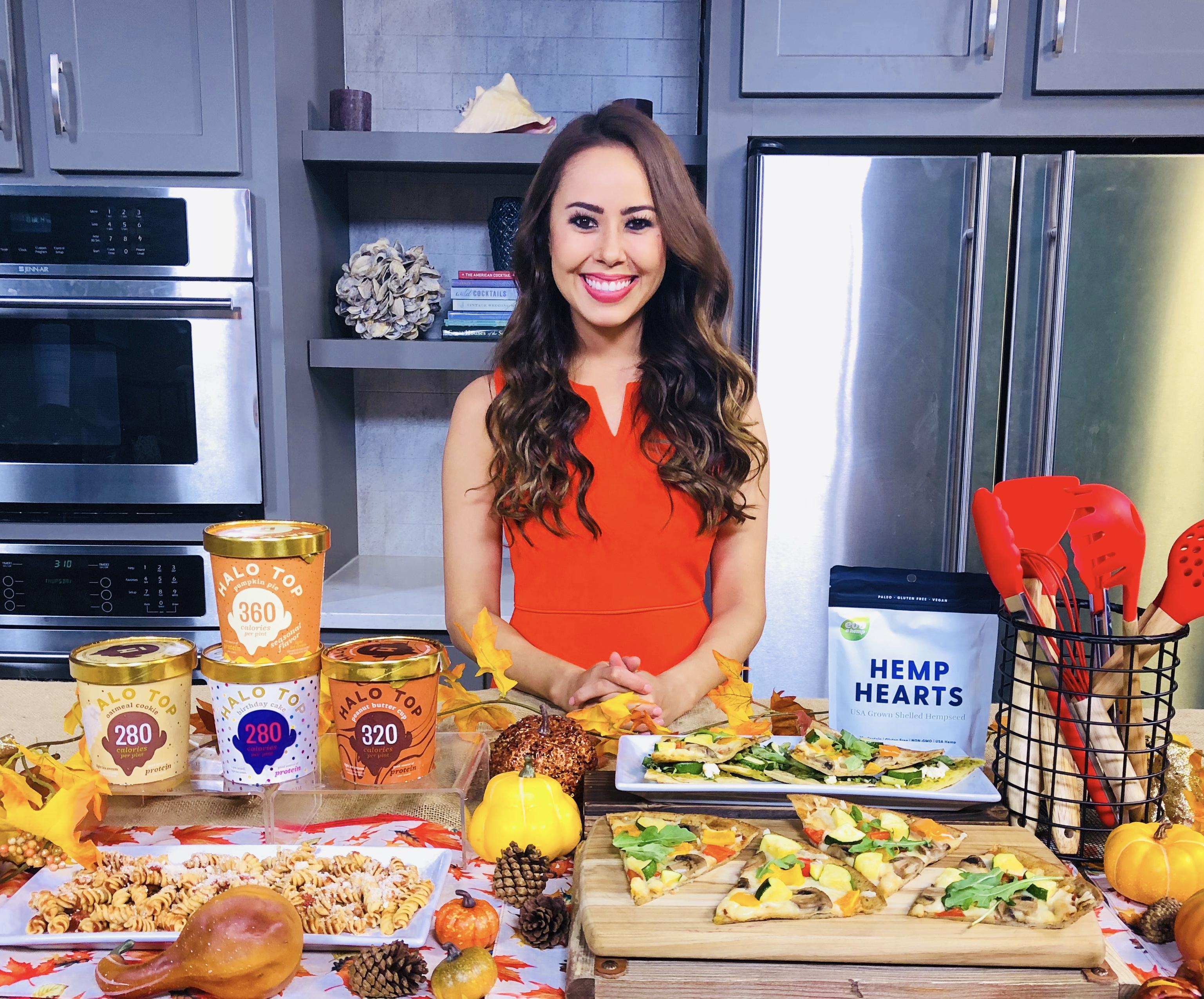 Halo Top, CAULIPOWER cauliflower pizza crust, Bevy Luxe 7-Piece Silicone Kitchen Utensil set, Evo Hemp Mia SYn Registered Dietitian TV Media
