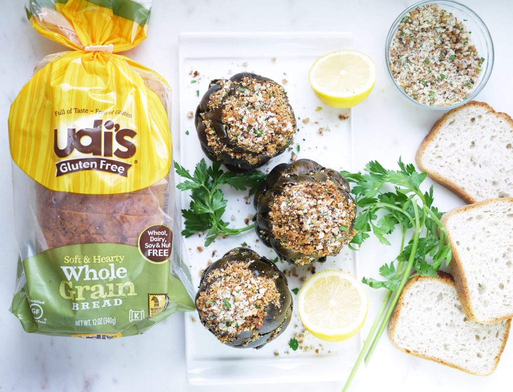 Garlicky Whole Grain Stuffed Artichokes Udi's Gluten Free Whole Grain Bread