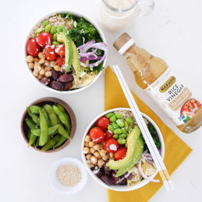 Greek Vegetarian Power Bowl with Miso Ginger Sauce
