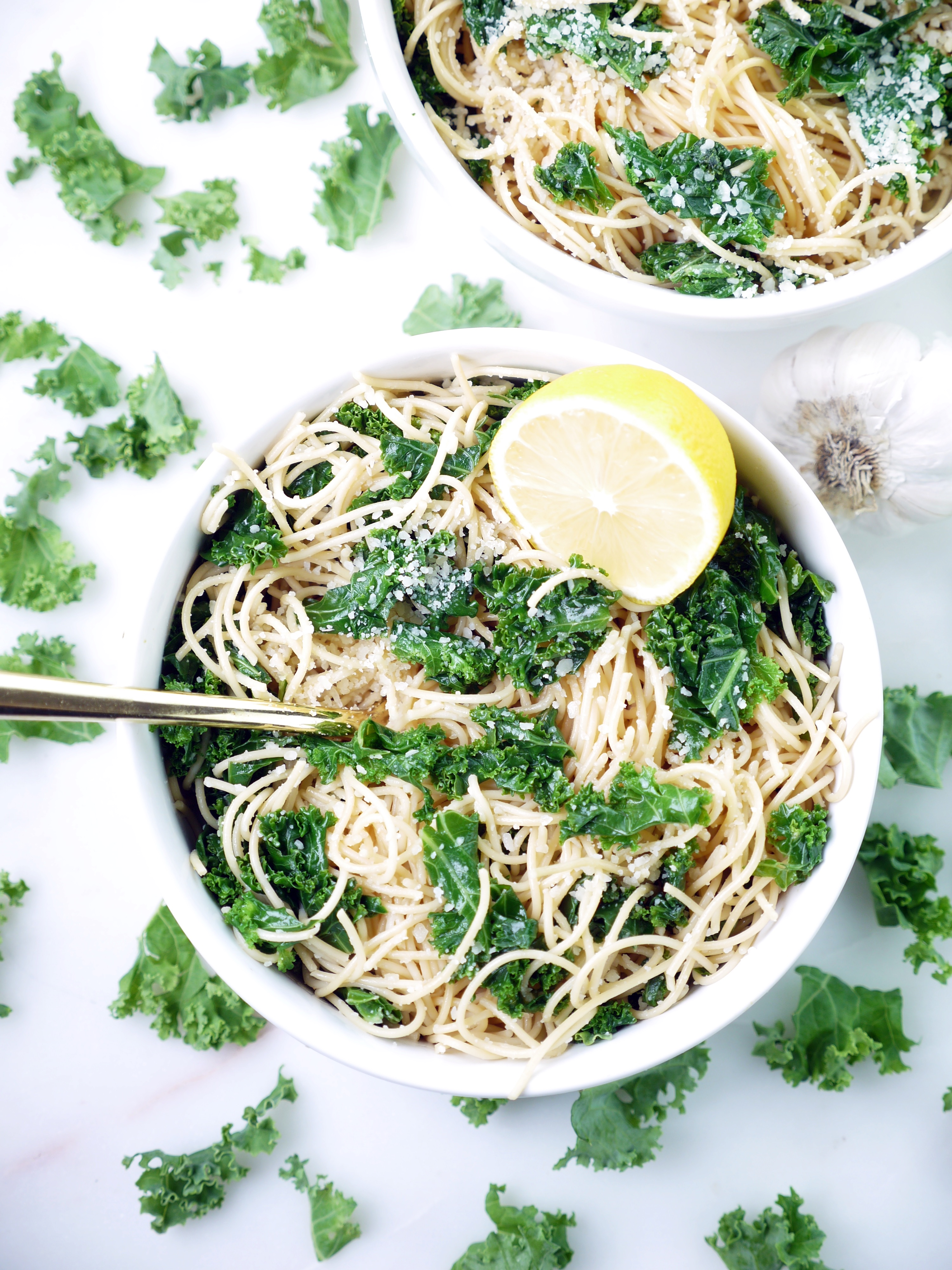 Lemony Parmesan Kale Chickpea Pasta
