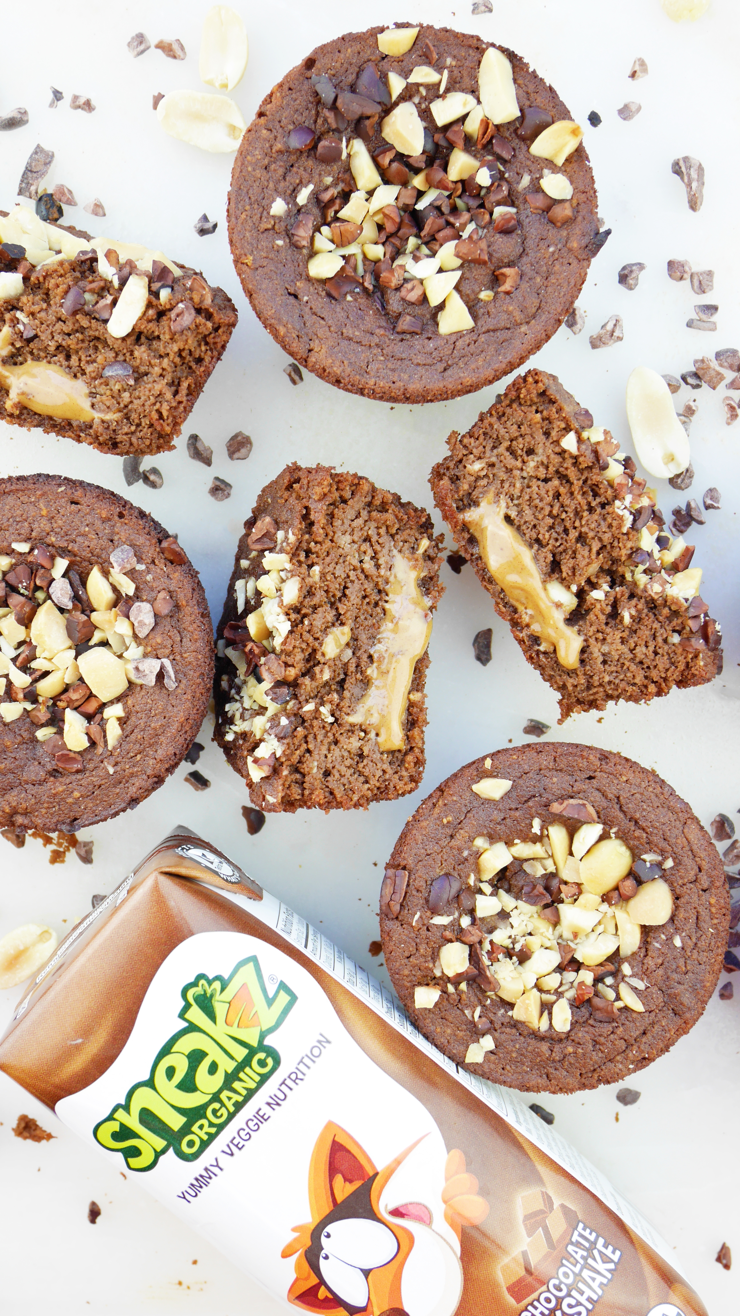 PB-stuffed chocolate muffins that sneaks in your veggies? Sign me up, yall! Peanut Butter-Stuffed Chocolate Veggie Muffins Sneakz Organic Milkshakes