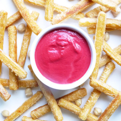 Veggie Fries and Homemade Beet Hummus