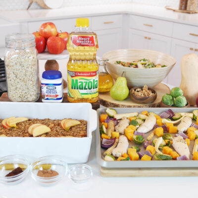 30-Minute Fall Harvest Sheet-Pan Meal with Garlic Herb Corn Oil Marinade