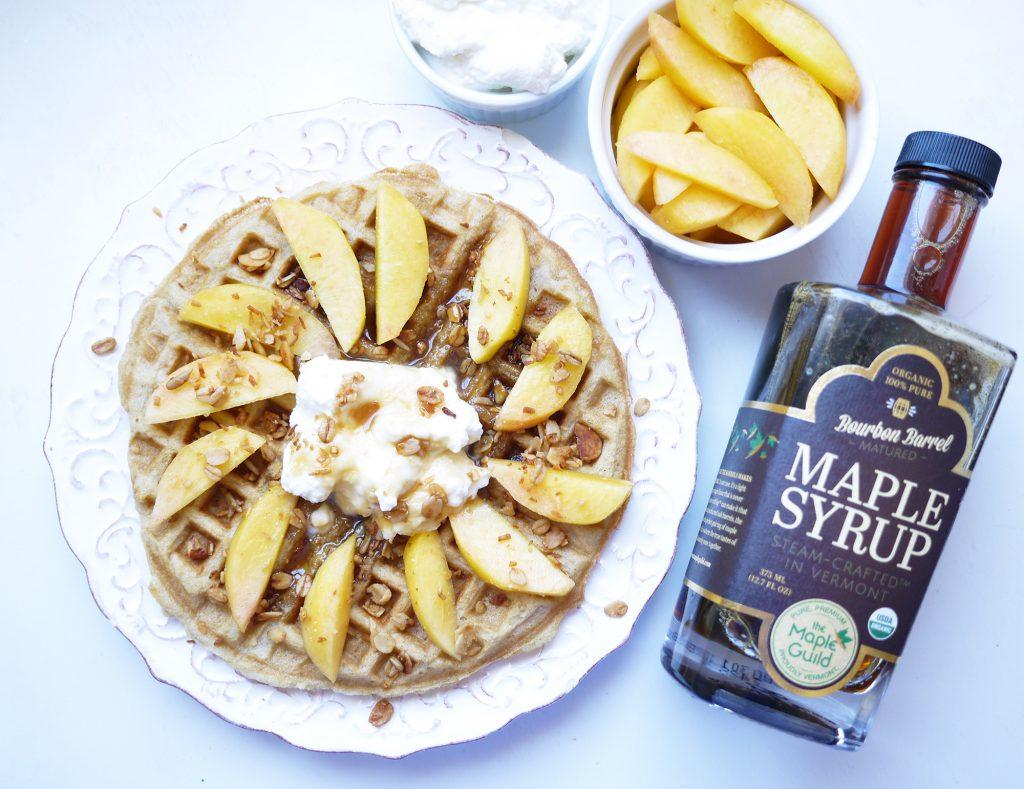 peach ricotta waffles bourbon maple syrup