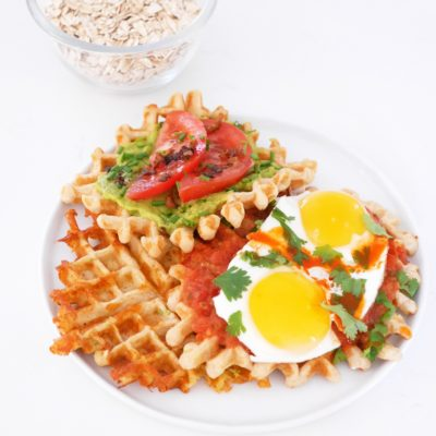 Savory Oat Waffles, 3 ways
