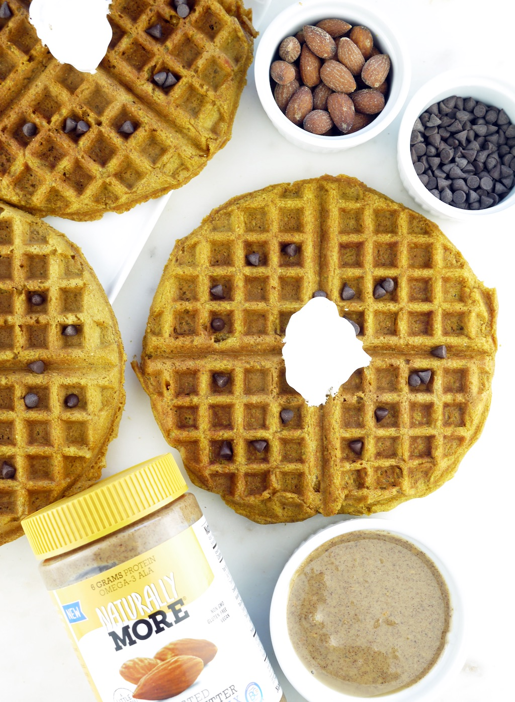 Pumpkin Almond Butter Waffles Naturally More's Roasted Almond Butter made with probiotics and flaxseeds