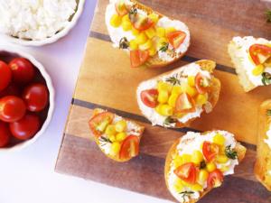 Corn and Tomato Summer Crostini