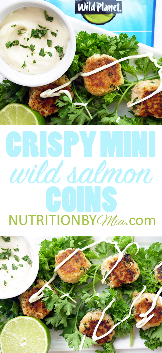 Crispy Mini Wild Salmon Coins   What wild salmon does to your body- A Registered Dietitian Explains. Plus a high-protein and omega-3 recipe to complement your roasted veggies and fresh salads – Crispy Wild Salmon Coins!
