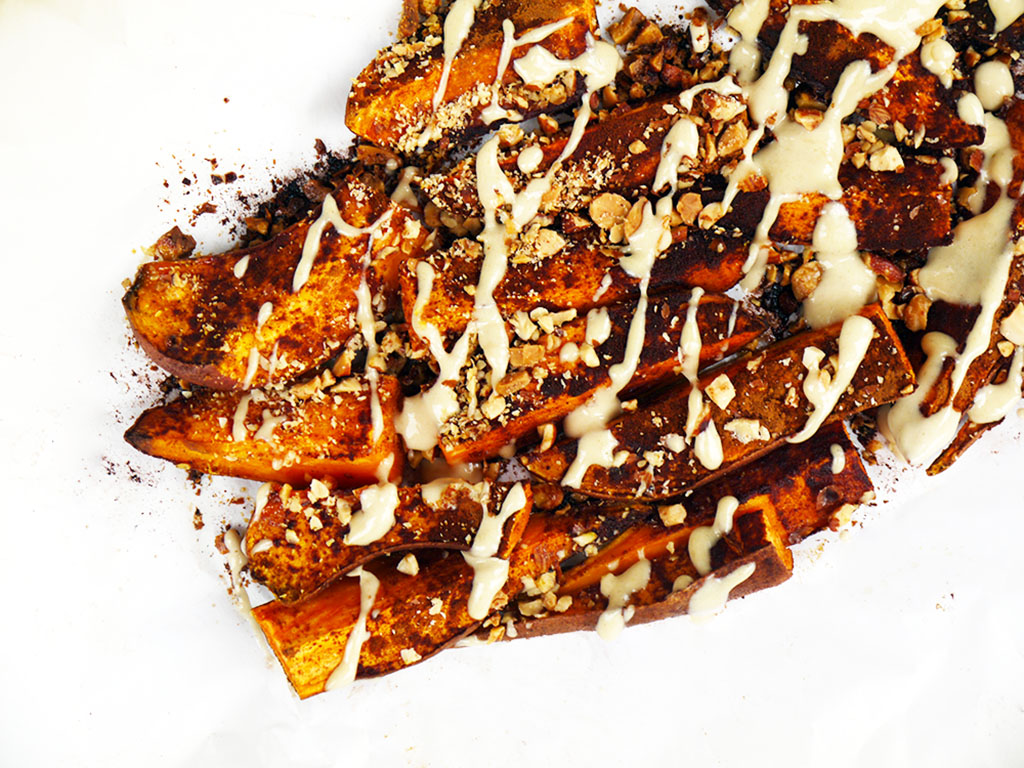 Cinnamon and Almond Crusted Sweet Potato Wedges