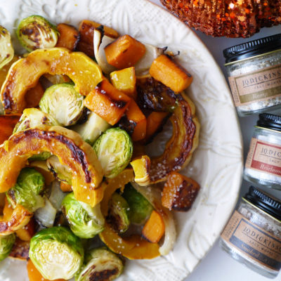 Roasted Fall Vegetables Topped with Smoked Finishing Salt