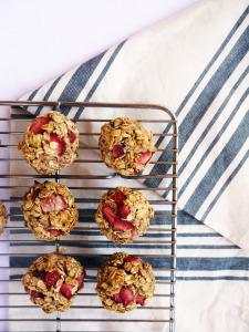 Strawberry Sun Butter Oat Muffins
