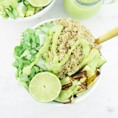 Green Dream Salad with Oil-Free Avocado Dressing