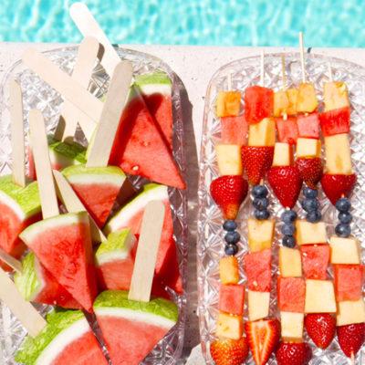 Poolside Snack: Summer Fruit Skewers and Frozen Watermelon Pops
