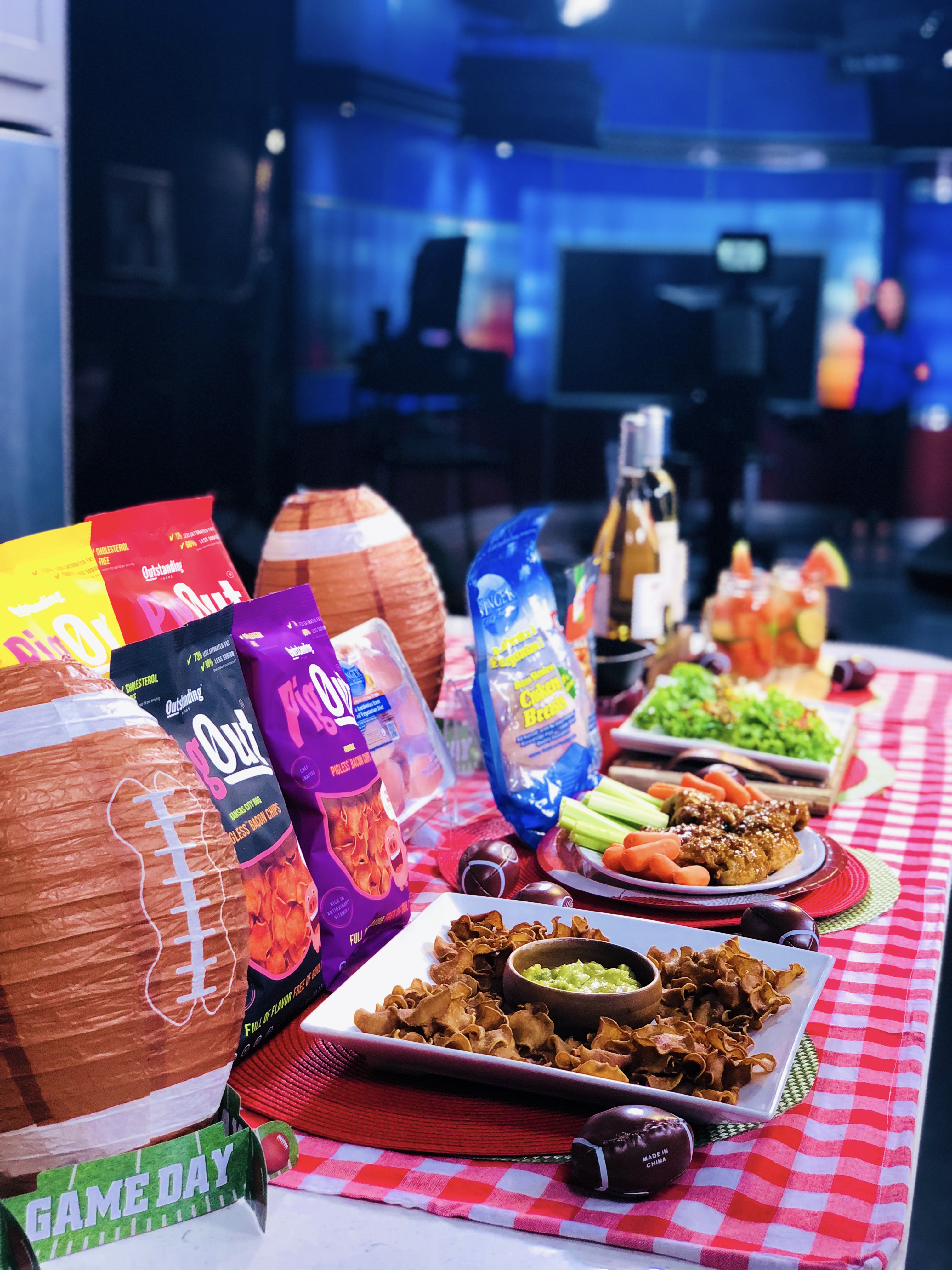 Outstanding Foods PigOut Chips, Knorr, Springer Mountain Farms Chicken, FitVine Wine